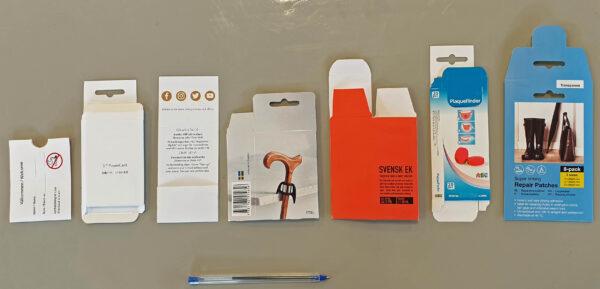 Små förpackningar med eget tryck